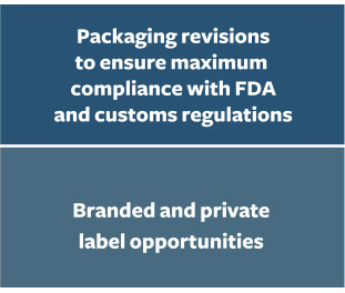Packaing revisions. Branded and private label opportunities